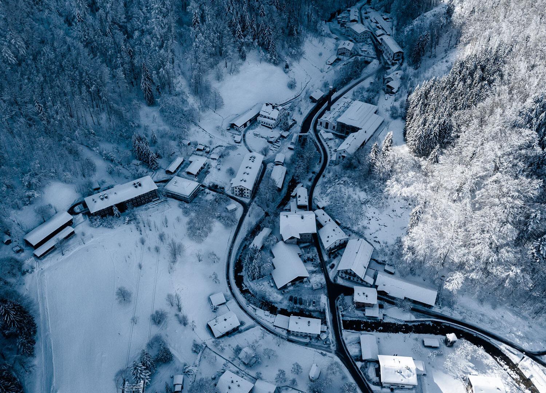 Maxhütte im Winter Luftaufnahme
